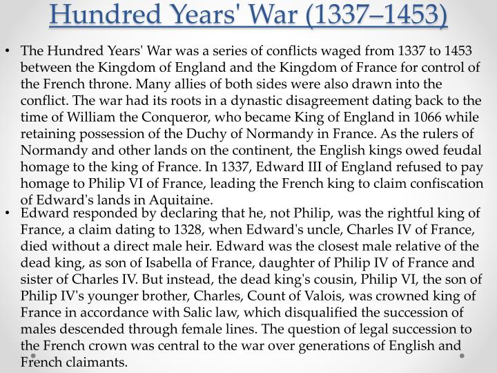 Hundred Years' War (1337–1453)