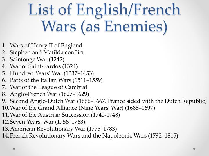 List of English/French Wars (as Enemies)