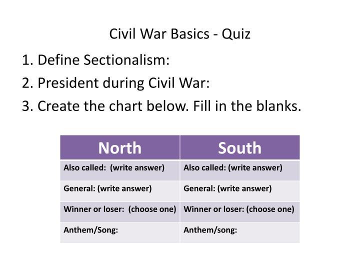 Civil War Basics - Quiz