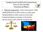 congressional conflicts compromises prior to the civil war provisions effects