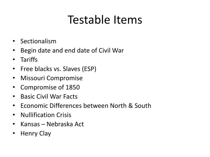 Testable Items