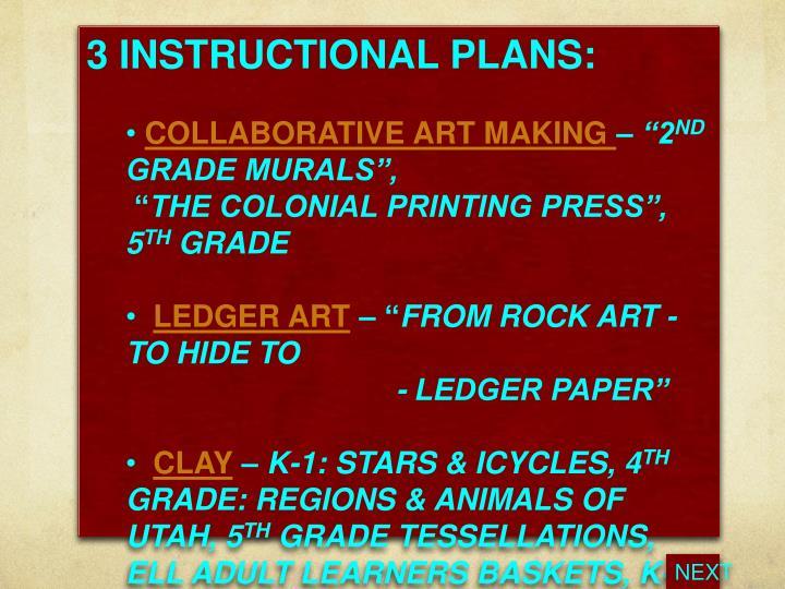 3 INSTRUCTIONAL PLANS: