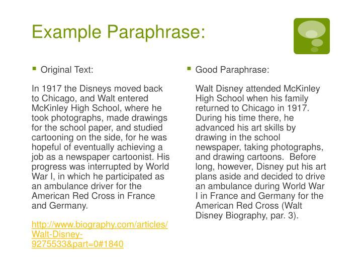 Example Paraphrase: