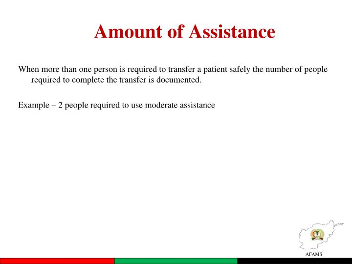 Amount of Assistance