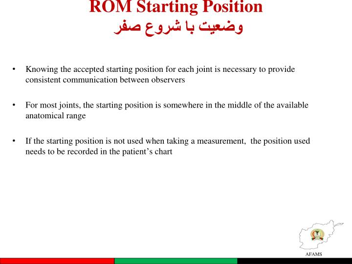ROM Starting Position