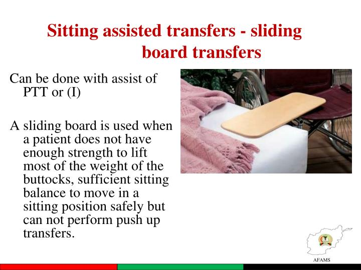 Sitting assisted transfers - sliding