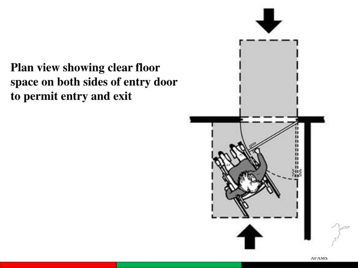 Plan view showing clear floor space on both sides of entry door to permit entry and exit