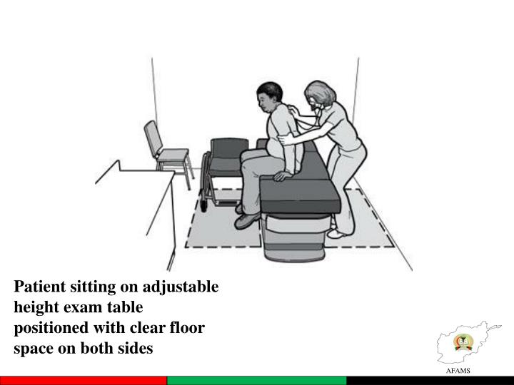 Patient sitting on adjustable height exam table