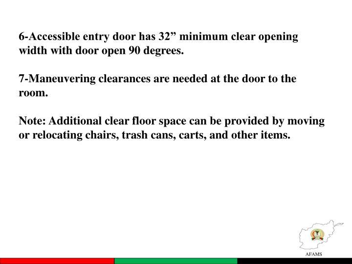 "6-Accessible entry door has 32"" minimum clear opening width with door open 90 degrees."
