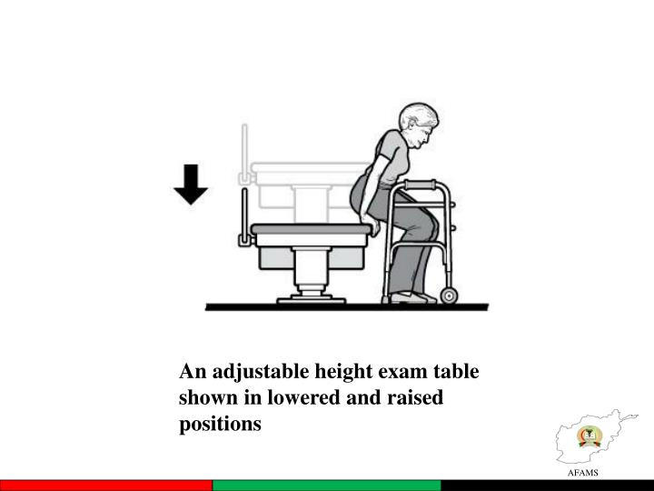An adjustable height exam table