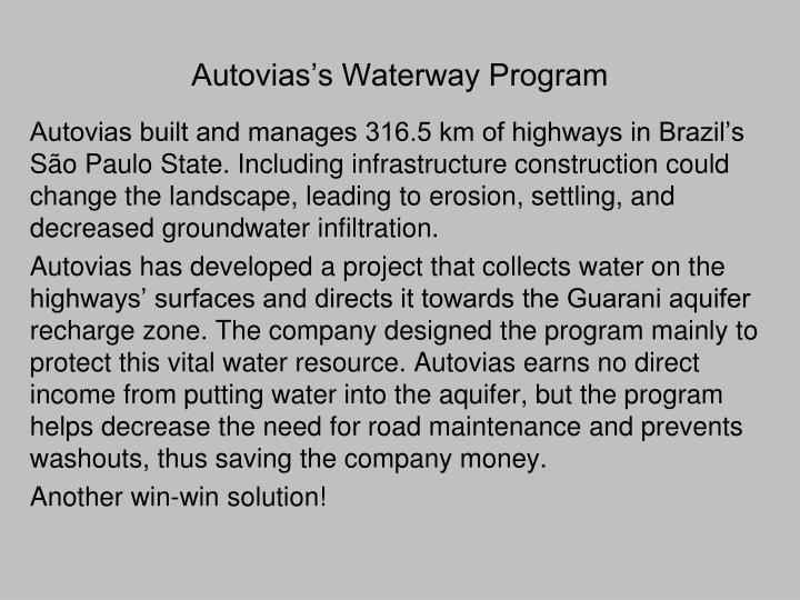 Autovias's Waterway Program