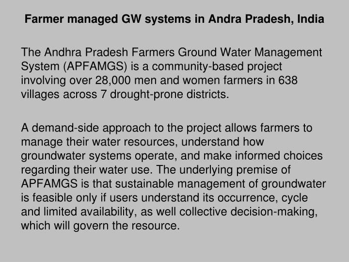 Farmer managed GW systems in Andra Pradesh, India