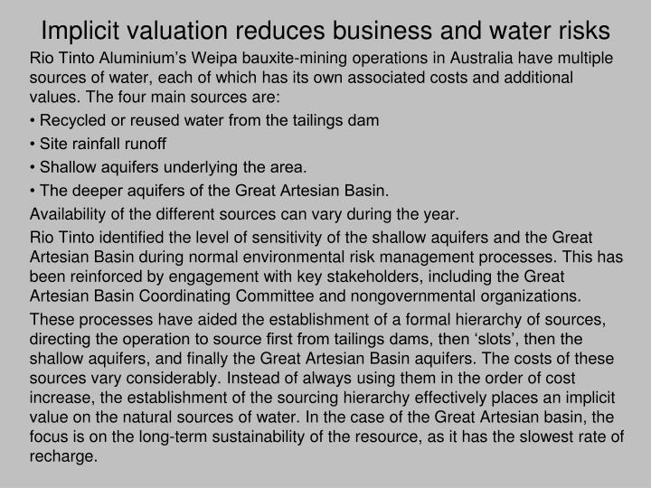 Implicit valuation reduces business and water risks