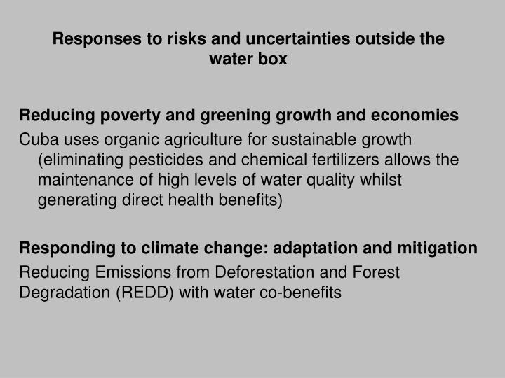 Responses to risks and uncertainties outside the water box
