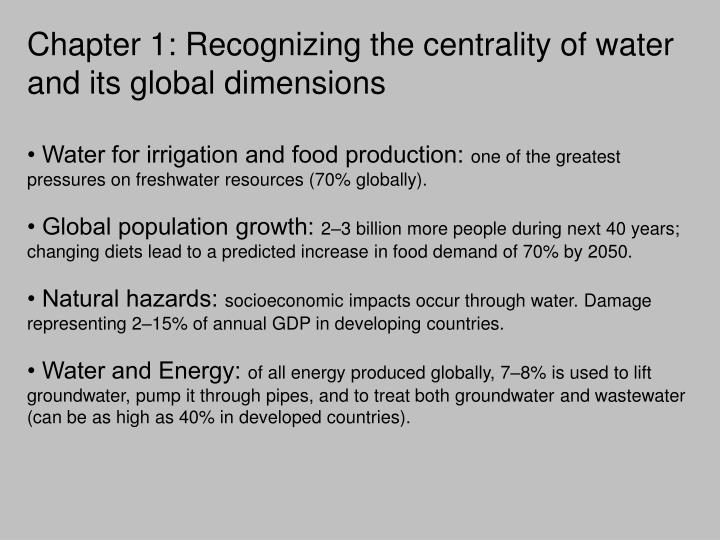 Chapter 1: Recognizing the centrality of water and its global dimensions