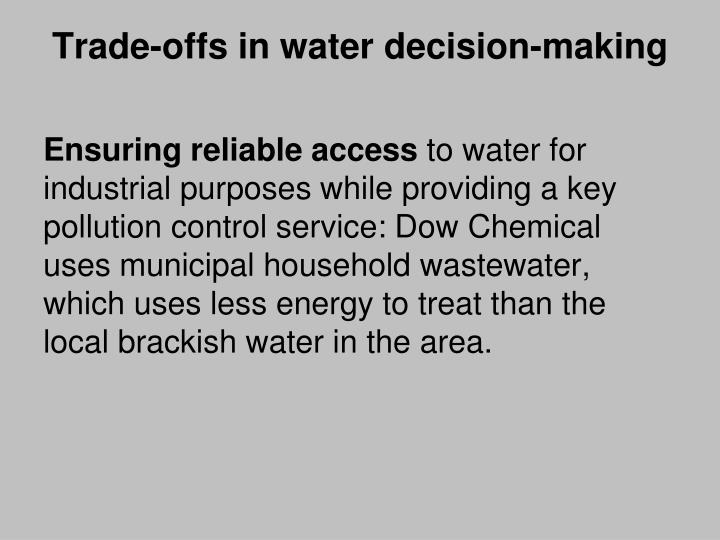 Trade-offs in water decision-making
