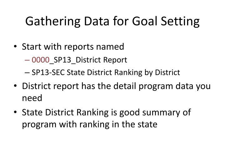 Gathering Data for Goal Setting