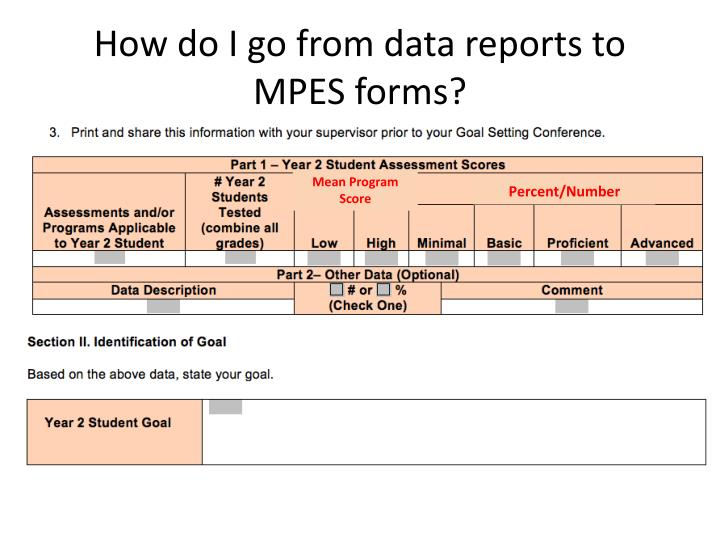 How do I go from data reports to MPES forms?