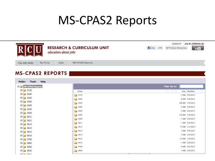 MS-CPAS2 Reports