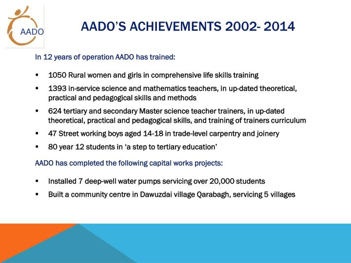 AADO'S ACHIEVEMENTS 2002- 2014