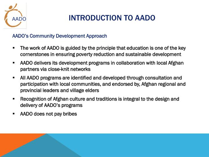 INTRODUCTION TO AADO
