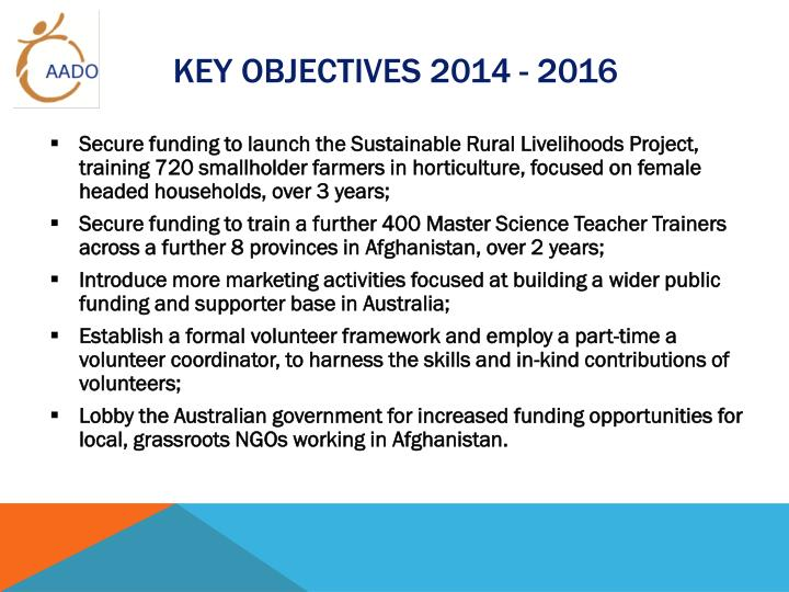 Key Objectives 2014 - 2016