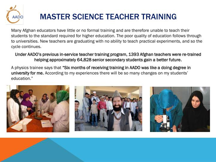 Master Science Teacher Training