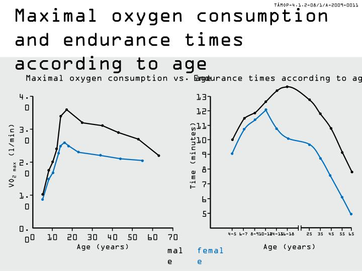 Maximal oxygen consumption and endurance times according to age