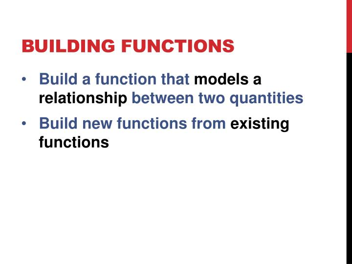 BUILDING FUNCTIONS