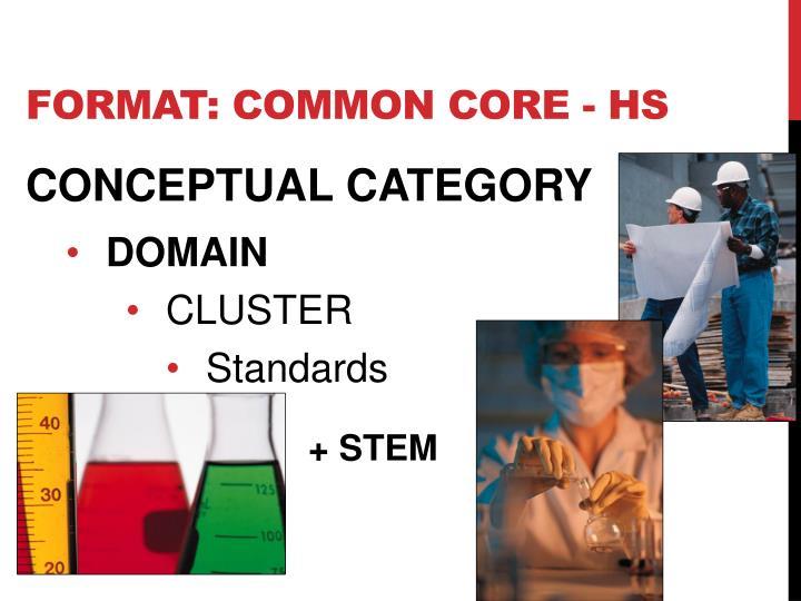 format: COMMON CORE - HS