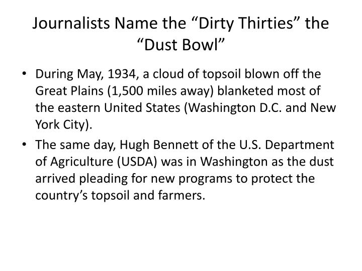 "Journalists Name the ""Dirty Thirties"" the ""Dust Bowl"""