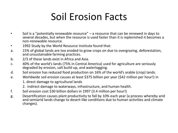 Soil erosion facts