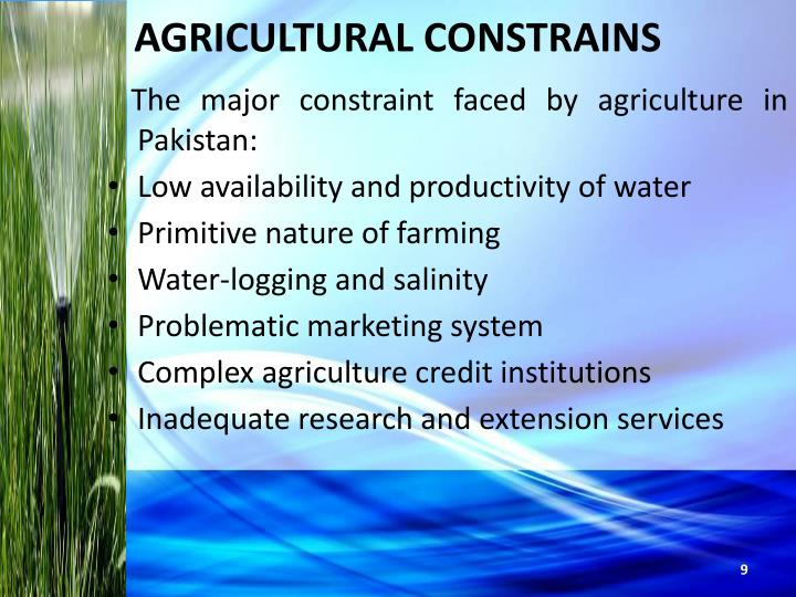 AGRICULTURAL CONSTRAINS