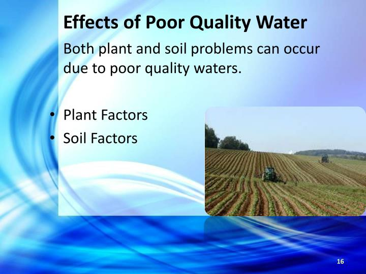 Effects of Poor Quality Water