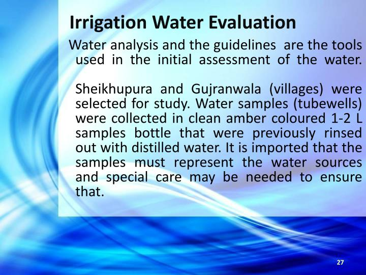 Irrigation Water Evaluation