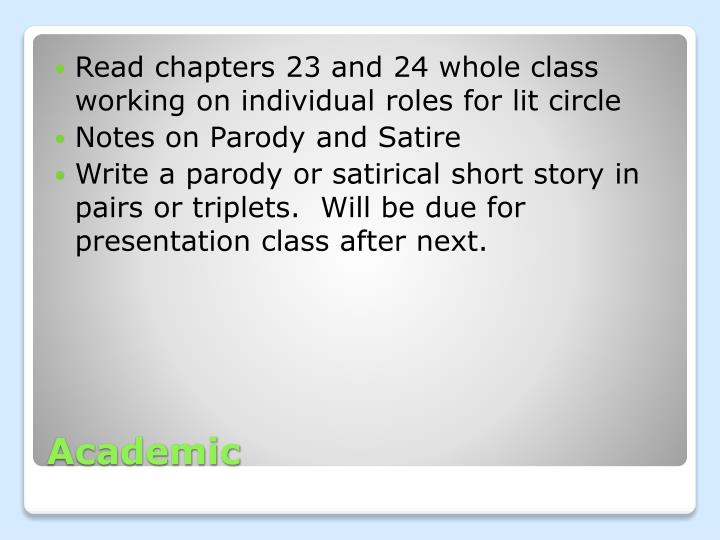 Read chapters 23 and 24 whole class working on individual roles for lit circle