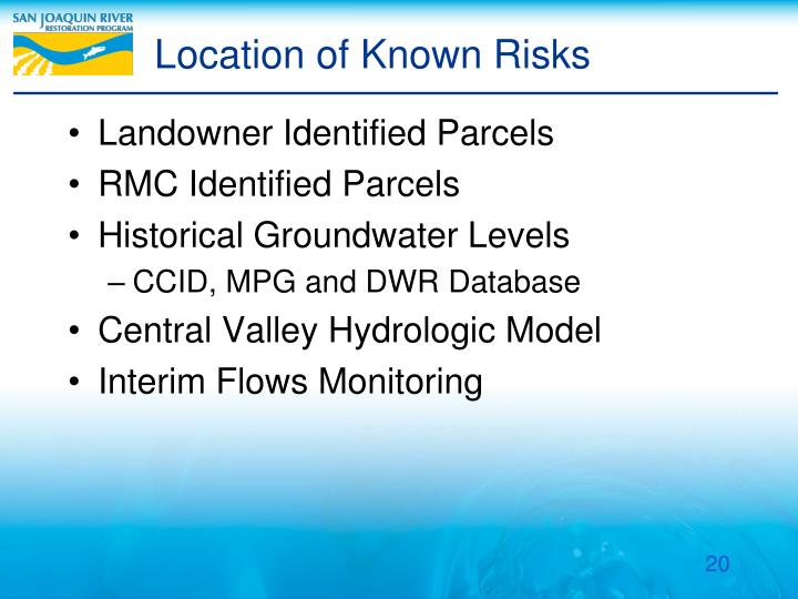 Location of Known Risks