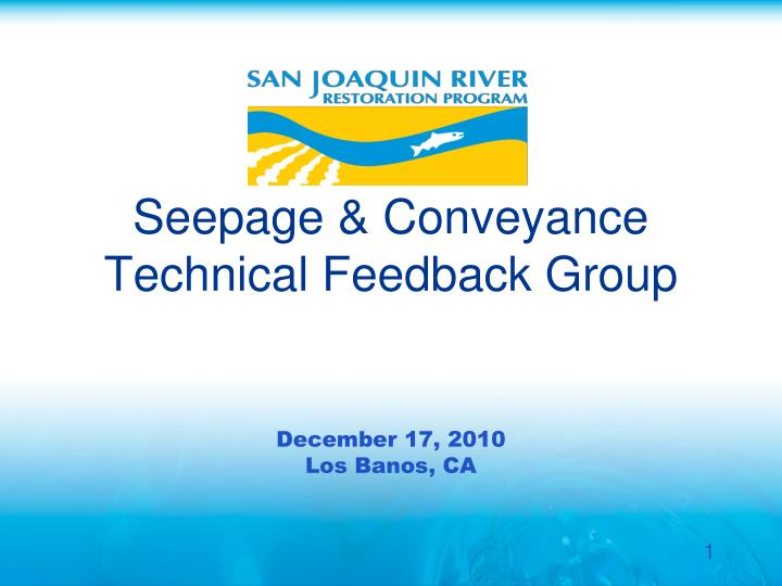 Seepage conveyance technical feedback group