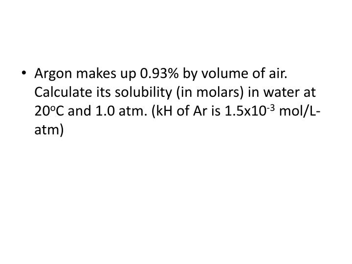 Argon makes up 0.93% by volume of air. Calculate its solubility (in molars) in water at 20