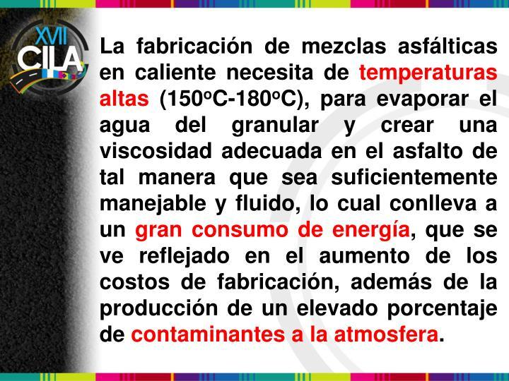 La fabricación de mezclas asfálticas en caliente necesita de