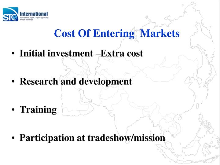 Cost Of Entering  Markets