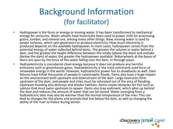 Background information for facilitator