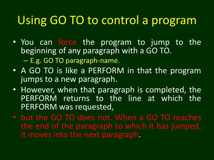 Using go to to control a program