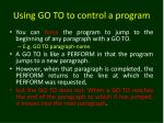 using go to to control a program
