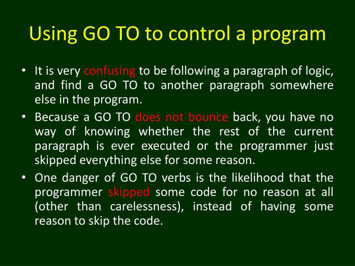 Using GO TO