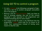 using go to to control a program3