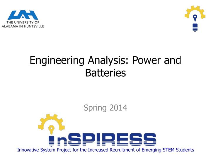 engineering analysis power and batteries