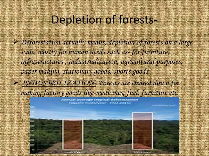 Depletion of forests-