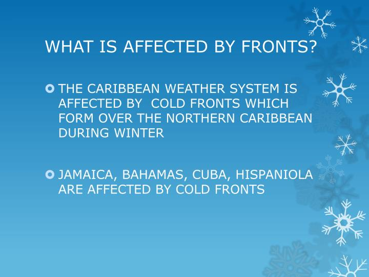 WHAT IS AFFECTED BY FRONTS?