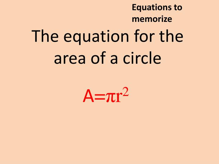 Equations to memorize